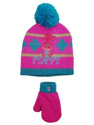 The Trolls Toddler Girls Pink Poppy Beanie Hat & Mittens Set