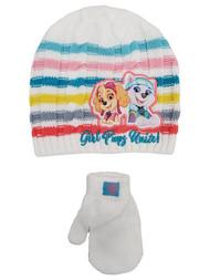 Paw Patrol Toddler Girls White Skye Puppy Dog Beanie Hat & Mittens Set