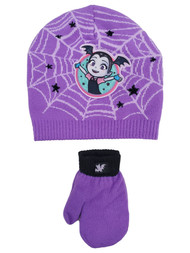 Vamperina Toddler Girls Purple Vampire Beanie Hat & Mittens Set