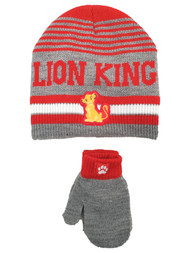 Disney Lion King Toddler Boys Gray Simba Beanie Hat & Mittens Set 2T-5T