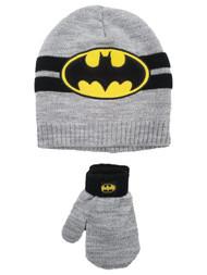 Batman Toddler Boys Gray & Black Bat Man Beanie Hat & Mittens Set 2T-5T