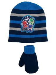PJ Masks Toddler Boys Blue Stripe Be A Hero Beanie Hat & Mittens Set 2T-5T