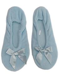 Womens Soft Sensations Light Blue Ballet Slippers Slip On House Shoes