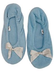 Womens Willow Bay Light Blue Ballet Slippers Slip On House Shoes