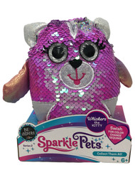 Sparkle Pets Whiskers the Kitty Cat Sequined Stuffed Animal, 6 inch Plush Pal