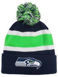 Seattle Seahawks Football Adult Mens & Womens Stripe Beanie Stocking Cap Hat