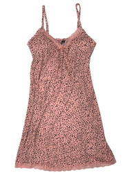 Ambrielle Womens Black & Pink Dot Nightgown Chemise Nighty Night Gown