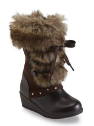 Canyon River Blues Toddler Girls Brown Fashion Boots with Faux Fur Trim 7T
