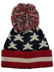 David & Young Mens Patriotic American Flag Pom Beanie Stocking Cap Hat