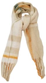Womens Cream White Beige Orange Plaid Warm Blanket Scarf 72.5 by 17.5 Inches
