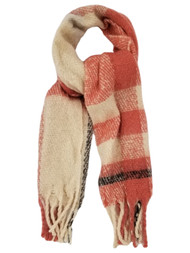 Womens Cream White Coral Plaid Cozy Warm Big Blanket Scarf 72.5 by 17.5 Inches