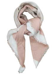 Womens Cream White Light Pink Patterned Warm Blanket Scarf 50 by 50 Inches