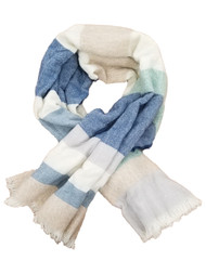 Womens Cream White Blue Sea Green Striped Fringe Blanket Scarf 47 by 47 Inches