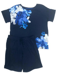 Layla Womens Blue Floral Knit Pajamas T-Shirt & Shorts Sleep Set