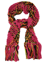 Womens Hot Pink Neon Yellow Black Multi-Color Crochet Chunky Knit Scarf Tassels