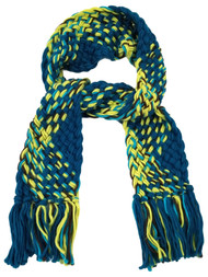 Womens Neon Blue Green Brown White Multi-Color Crochet Chunky Knit Scarf Tassels