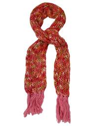 Womens Bright Pink Orange Green Multi-Color Crochet Chunky Knit Scarf Tassels