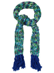 Womens Colorful Blue Green Purple Multi-Color Crochet Chunky Knit Scarf Tassels
