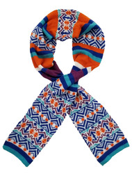 Womens Blue Orange White Striped Patterned Multi-Color Nordic Pattern Knit Scarf