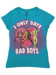 DC Comics Womens Blue I Only Date Bad Boys Joker Riddler T-Shirt Shirt