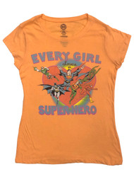 DC Comics Womens Orange Every Girl Loves A Superhero Batman Tee Shirt