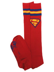 DC Comics Womens Red Ribbed Supergirl Thigh High Socks Super Girl