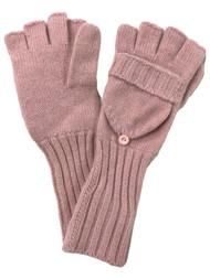 DKNY Womens Pink Angora & Lambswool Fingerless Convertible Flip Top Gloves