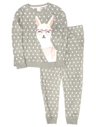Womens Minky Soft Gray Fleece Polka Dot LLama Jogger Pajamas Sleep Set