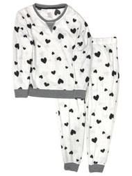 Womens Minky Soft Black & White Polka Dot Heart Jogger Pajamas Sleep Set