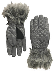 Fownes Womens Quilted Gray Faur Fur Trimmed Winter Snow & Ski Gloves