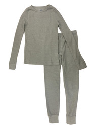 Girls Solid Gray Waffle Fabric Base Layer Thermal Underwear Set
