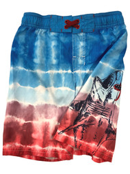 Boys Patriotic Blue & Red Shark Board Shorts Swim Trunks