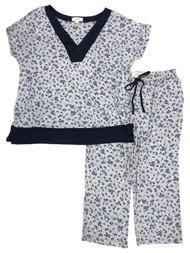Layla Womens Gray & Blue Floral Knit Pajamas T-Shirt & Capris Sleep Set