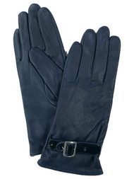 Womens Navy Blue Buckle Leather Gloves Fleece Lined Small/Medium