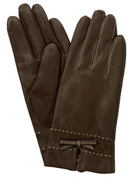 Womens Chocolate Brown Stitched Leather Bowtie Thinsulate Gloves Large