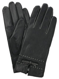 Womens Black Stitched Leather Bowtie Thinsulate Gloves