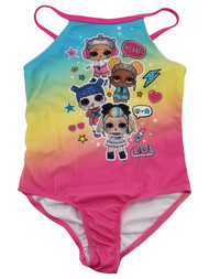 LOL Surprise Girls Pink Yellow Blue Colorful 1 Piece Neon Bathing Swimsuit 5/6