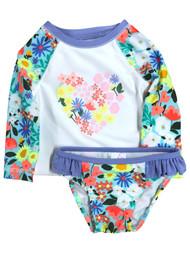 Infant & Toddler Girls 2pc Blue Floral Rash Guard Swim Suit Set
