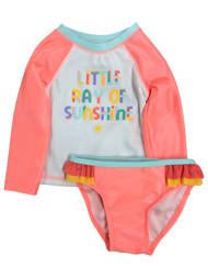 Infant & Toddler Girls 2pc Little Ray of Sunshine Rash Guard Swim Suit Set