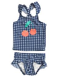 Toddler Girls 2pc Blue Plaid Cherry Tankini Swim Suit Set 2T