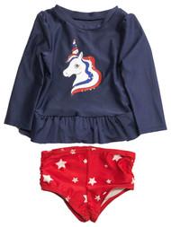 Infant & Toddler Girls 2pc Patriotic Blue Unicorn Rash Guard Swim Suit Set