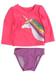 Infant & Toddler Girls 2pc Pink & Purple Unicorn Rash Guard Swim Suit Set