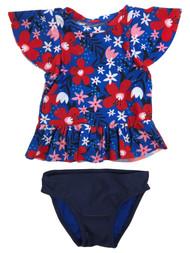 Infant & Toddler Girls 2pc Blue & Red Floral Rash Guard Swim Suit Set