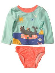 Infant & Toddler Girls 2pc Blue & Orange Seal Rash Guard Swim Suit Set
