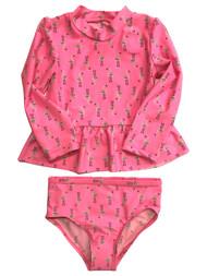 Carters Infant & Toddler Girls 2pc Pink Flamingo Rash Guard Swim Suit