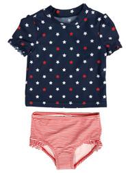 Carters Infant & Toddler Girls 2pc Patriotic Blue Star Rash Guard Swim Suit