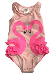 Carters Infant & Toddler Girls 1pc Ruffled Pink Flamingo Swim Suit