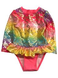 Infant Girls 1 Piece Metallic Rainbow Pink Mermaid Rash Guard Swim Suit