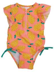 Infant & Toddler Girls 1pc Coral Orange Yellow Pear Rash Guard Swim Suit 18M