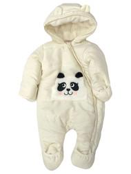 Infant Girls Ivory Panda Bear Hoodie Snowsuit Baby Pram Snow Suit